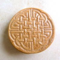 Artisan Hand Crafted Celtic Knotwork Brooch By Mulberry Ceramics.